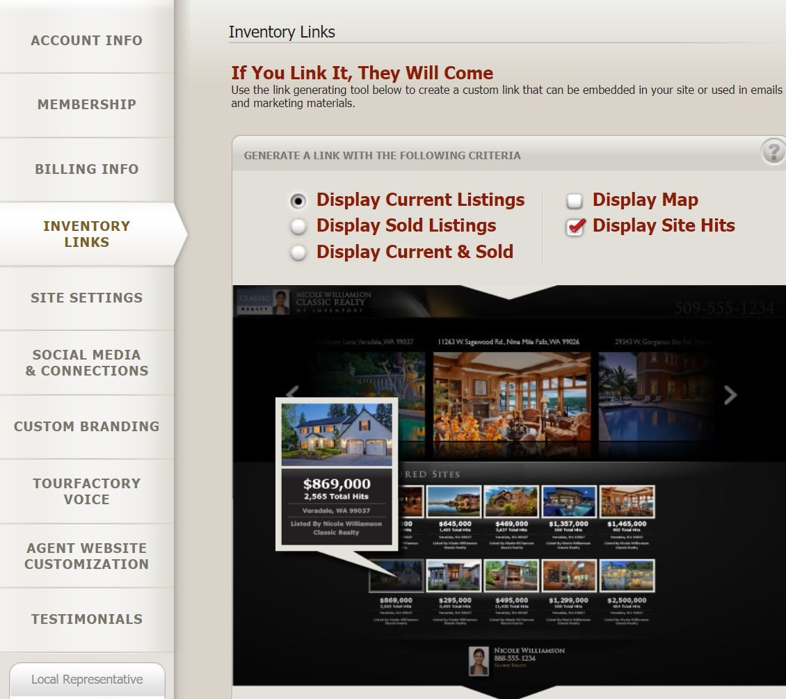 Real Estate Listing Inventory Page